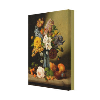 Georg Seitz Flowers in a Blue Vase and Fruit Canvas Print