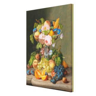 Georg Seitz Still Life with Flowers and Fruit Canvas Print