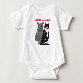 George and Lucas cats baby bodysuit