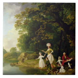 George and Mary Browne with their Five Elder Child Large Square Tile