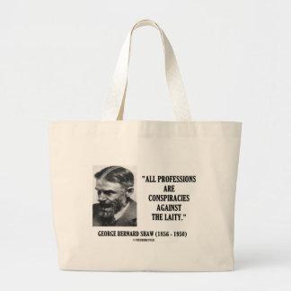 George B. Shaw Professions Conspiracies Laity Jumbo Tote Bag