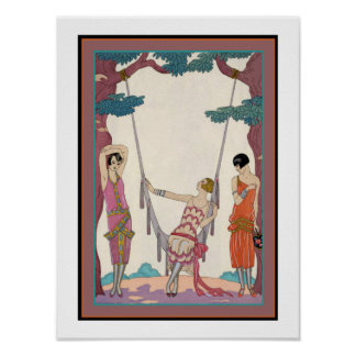 "George Barbier ""3 Girls & a Swing"" poster 12 x 16"