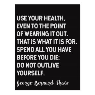 George Bernard Shaw Quote on Health / Living Postcard