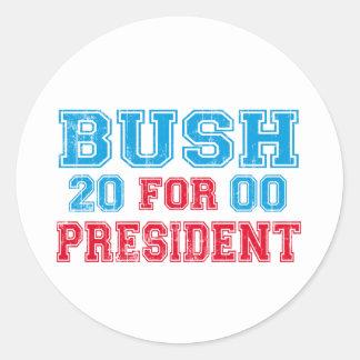 George Bush 2000 Retro Classic Round Sticker