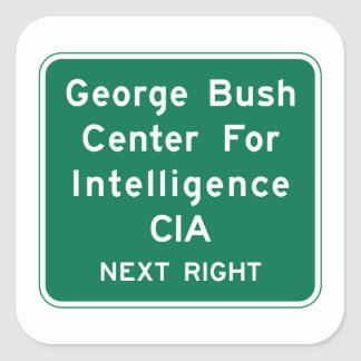 George Bush Center, Road Sign, Virginia, USA Square Sticker