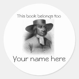 George Fox Book Plate Classic Round Sticker
