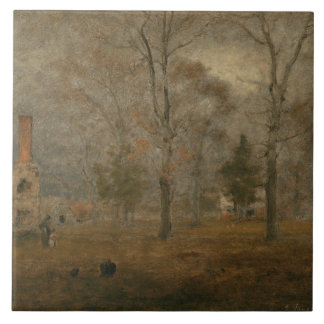 George Inness - Gray Day, Goochland Large Square Tile
