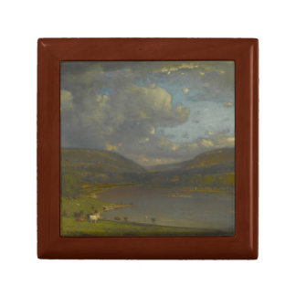 George Inness - On the Delaware River Small Square Gift Box