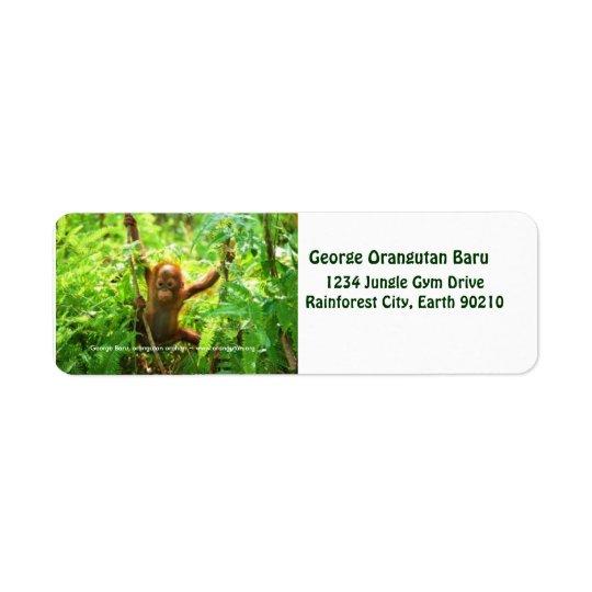 George Orangutan Return Address Label