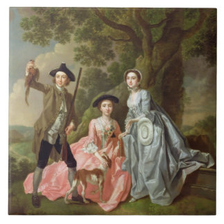 George Rogers with his Wife, Margaret, and his Sis Large Square Tile