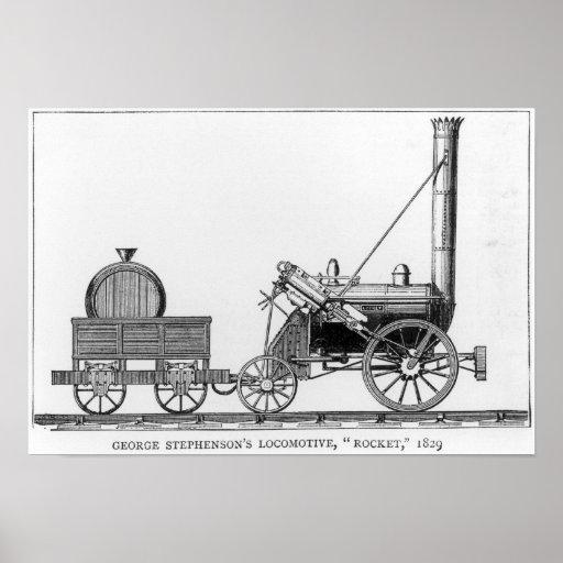 George Stephenson's Locomotive, 'Rocket', 1829 Print