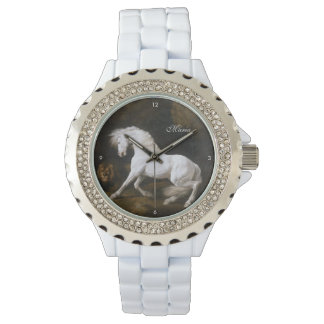 George Stubbs Classic Art of White Horse and Lion Watch