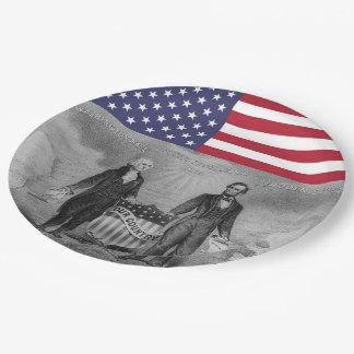 George Washington Abraham Lincoln American Flag 9 Inch Paper Plate