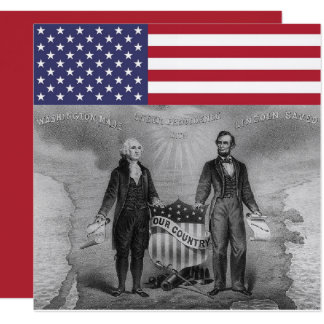 George Washington Abraham Lincoln American Flag Card