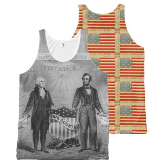 George Washington Abraham Lincoln Patriotic USA All-Over Print Singlet