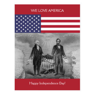 George Washington Abraham Lincoln Patriotic USA Postcard