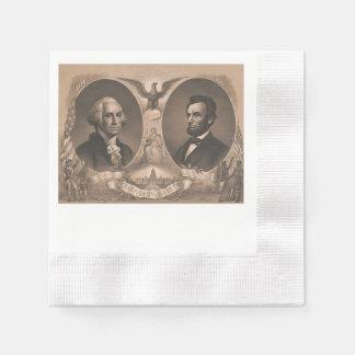 George Washington and Abraham Lincoln Portrait Paper Napkin