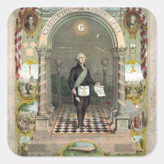 George Washington as a Freemason Square Sticker