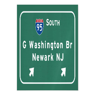 George Washington Bridge Interstate I-95 Newark NJ Magnetic Invitations