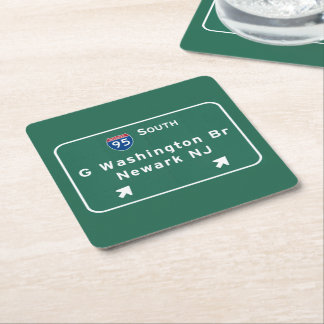 George Washington Bridge Interstate I-95 Newark NJ Square Paper Coaster