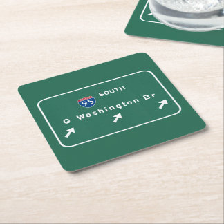 George Washington Bridge NYC New York City NY Square Paper Coaster