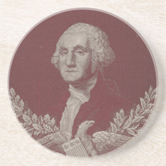 George Washington Eagle Stars Stripes USA Portrait Sandstone Coaster