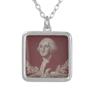 George Washington Eagle Stars Stripes USA Portrait Silver Plated Necklace