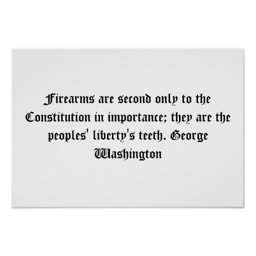 George Washington Firearms Quote Poster