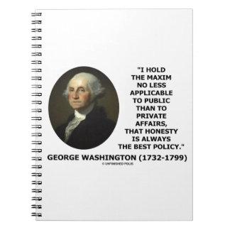 George Washington Maxim Honesty Best Policy Quote Notebook
