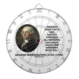 George Washington Observe Good Faith Justice Quote Dartboard