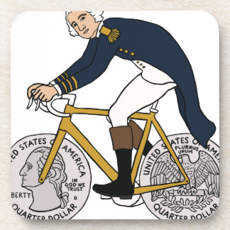 George Washington On Bike With Quarter Wheels Coaster