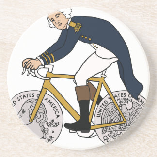 George Washington On Bike With Quarter Wheels Drink Coaster