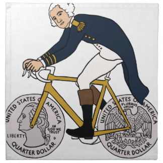 George Washington On Bike With Quarter Wheels Napkin
