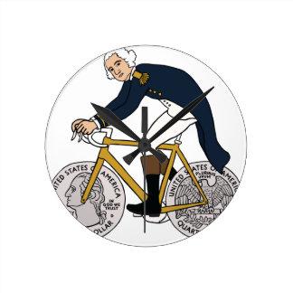 George Washington On Bike With Quarter Wheels Round Clock