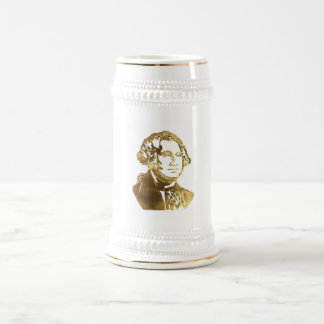 George Washington Portrait Gold Look Elegant Beer Stein