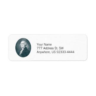 George Washington Portrait Oval Return Address Label