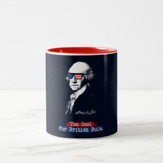 George Washington. Too cool for british rule. Two-Tone Coffee Mug