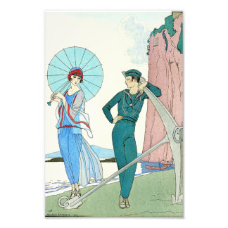 Georges Barbier Lady at the Beach Print Photo Print