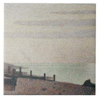 Georges Seurat - Evening, Honfleur Large Square Tile