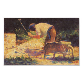 Georges Seurat-Weed knocking with wheelbarrow Print