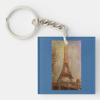 Georges Seurat's Painting: The Eiffel Tower (1889) Double-Sided Square Acrylic Key Ring
