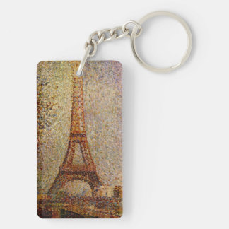 Georges Seurat's Painting: The Eiffel Tower (1889) Double-Sided Rectangular Acrylic Key Ring