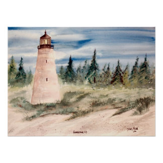 georgetown, sc lighthouse watercolor print