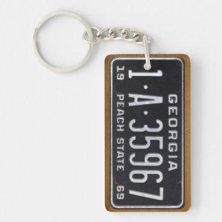 Georgia 1969 Vintage License Plate Keychain