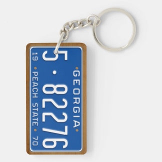 Georgia 1970 Vintage License Plate Keychain