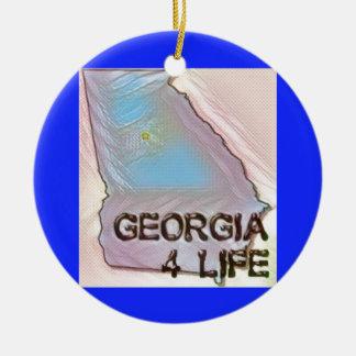 """Georgia 4 Life"" State Map Pride Design Ceramic Ornament"