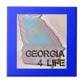 """""""Georgia 4 Life"""" State Map Pride Design Ceramic Tile"""