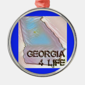 """""""Georgia 4 Life"""" State Map Pride Design Metal Ornament"""