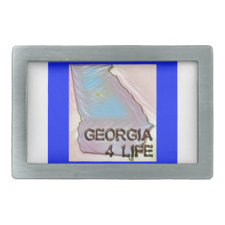 """Georgia 4 Life"" State Map Pride Design Rectangular Belt Buckle"