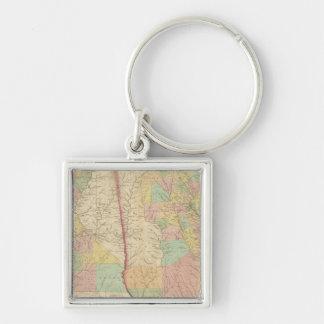 Georgia and Alabama 3 Silver-Colored Square Key Ring